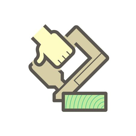 Wood floor construction and pneumatic Staplers and Nailers  vector icon design. Иллюстрация