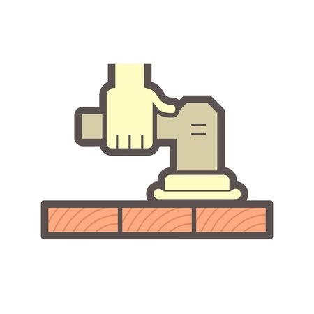 Wood floor construction and sanding tools vector icon design.