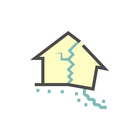 Collapsed house vector icon design. Vecteurs