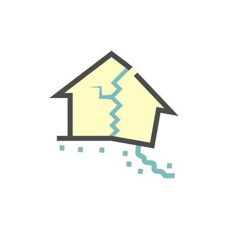 Collapsed house vector icon design. Vettoriali