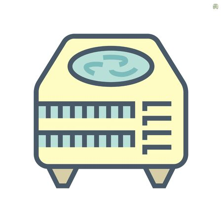 Air compressor part of air conditioner system vector icon design, 64x64 pixel perfect and editable stroke.