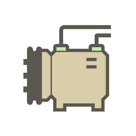 Air conditioner and air compressor part vector icon design on white background.