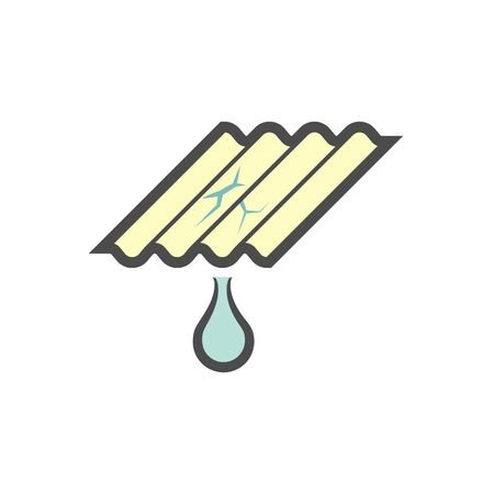 Roof tile damage and repair service vector icon design.