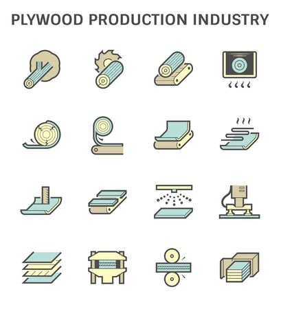 Plywood production industry vector icon set design. Ilustracja