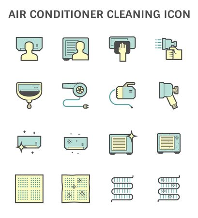 Air conditioner and air compressor cleaning icon set.