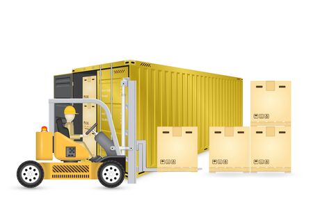 Forklift working with cargo container and product carton box isolate on white background for shipping and transportation concept.