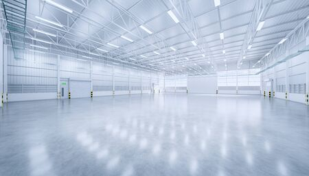 3d rendering of empty hangar and concrete floor and shutter door, clean and new condition. Archivio Fotografico