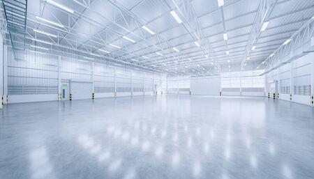 Rendu 3D du hangar vide et du sol en béton et de la porte d'obturation, état propre et neuf. Banque d'images