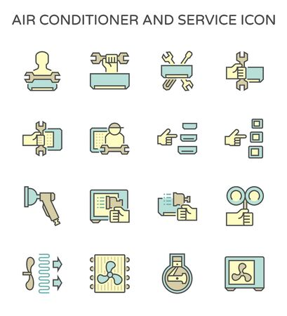 Air conditioner installation and cleaning service vector icon set design, editable stroke.