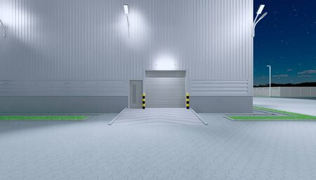 3d rendering of hangar building exterior and shutter door and paver brick floor at night time.
