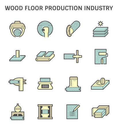 Wood floor production industry and wood testing vector icon set design. Ilustracja
