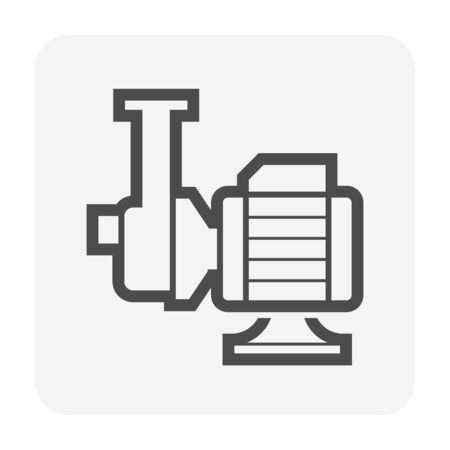 Water pump and steel pipe icon for water distribution for water work graphic design element.