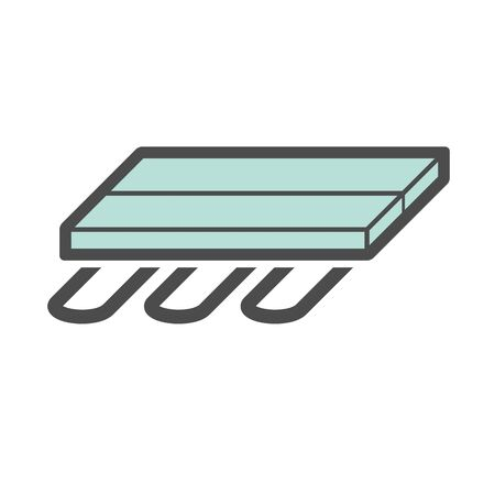 Wood floor heating material vector icon design.