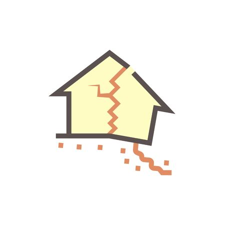 Collapsed house vector icon design.