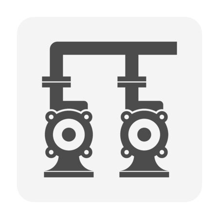 Water pump and steel pipe icon for water distribution for water work graphic design element. 向量圖像