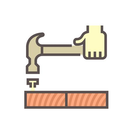 Wood floor construction and hammer vector icon design.