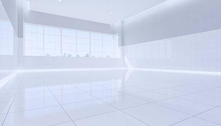 3d rendering of empty toilet room and white tile floor. Reklamní fotografie