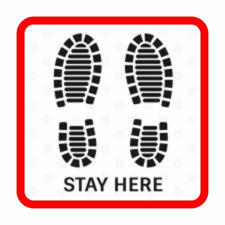 Social distancing square warning sign and shoe print vector design.