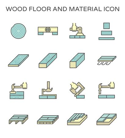 Wood floor material and construction tool vector icon set design.