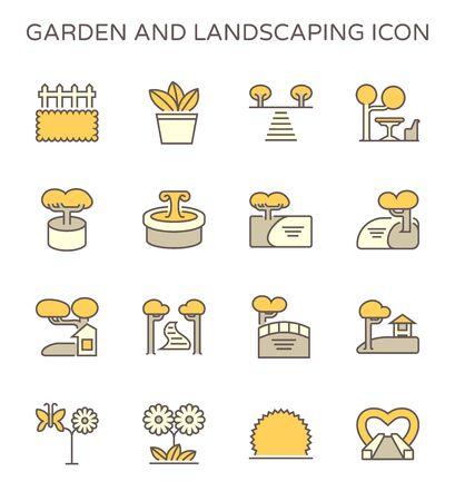 Garden and landscaping vector icon set design use to landscaping graphic design element, editable stroke. Ilustração