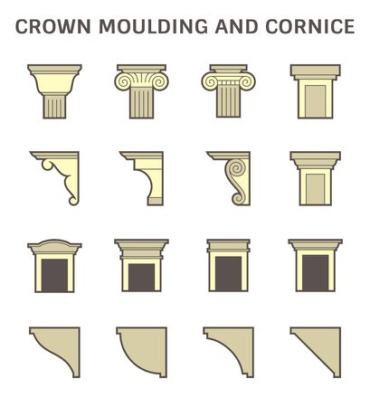 Crown moulding and cornice decoration vector icon set design.