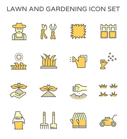 Lawn gardening plant tools and worker vector icon set design.