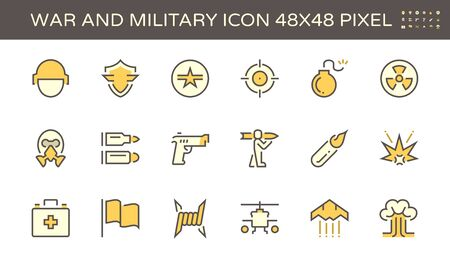 War and military vector icon set design, 48x48 pixel perfect and editable stroke. Ilustracja