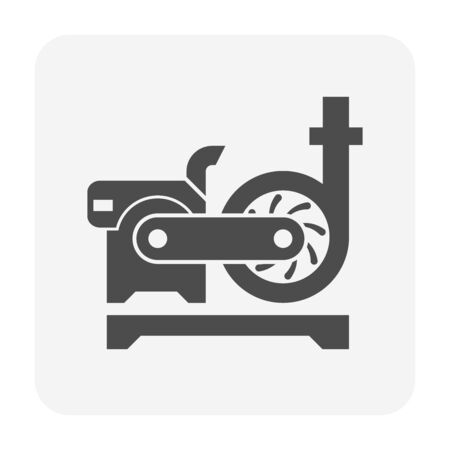 Water pump and engine icon for water distribution work graphic design element.