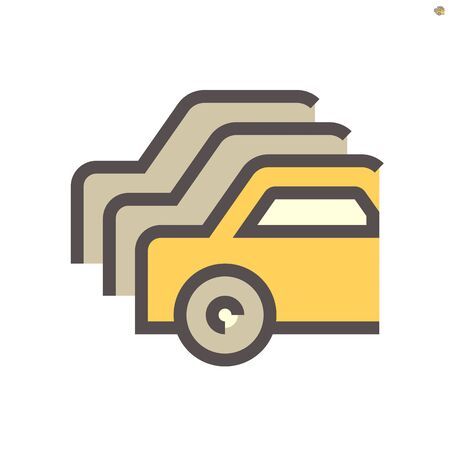 Row of used car for sale vector icon design, 48X48 pixel perfect and editable stroke.