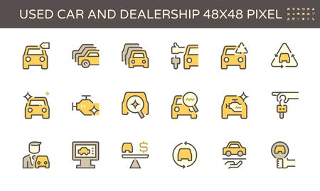 Used car and dealership vector icon set design, 48X48 pixel perfect and editable stroke. 向量圖像
