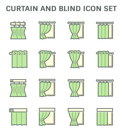 Curtain and blind interior decoration vector icon set design.