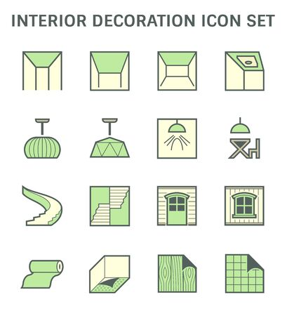 Ceiling and interior decoration material vector icon set design. Illusztráció