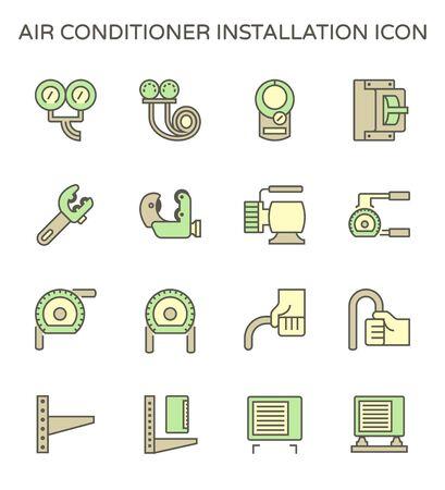 Air conditioner installation parts and tools vector icon set design, editable stroke.