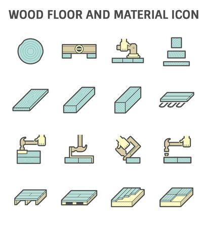 Wood floor construction and material vector icon set design.