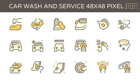 Car wash and service vector icon set design, 48x48 pixel perfect and editable stroke. Ilustración de vector