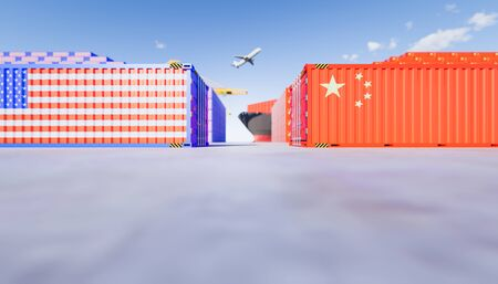 3d rendering of cargo container and   trade war concept design between china and us. Stock fotó