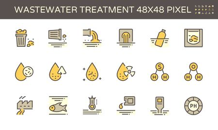 Wastewater and water treatment vector icon set design, 48x48 pixel perfect and editable stroke. Vector Illustratie