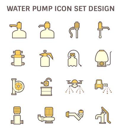 Drinking water pump and fluid pump icon set design. Illustration