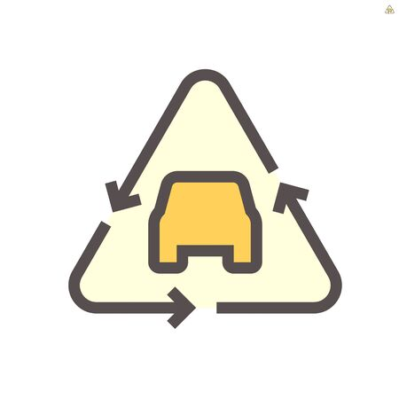 Car inside recycle icon to show used car concept, 48X48 pixel perfect and editable stroke.