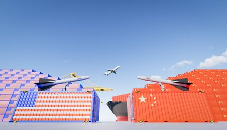 3d rendering of cargo container and   trade war concept design between china and us. Reklamní fotografie