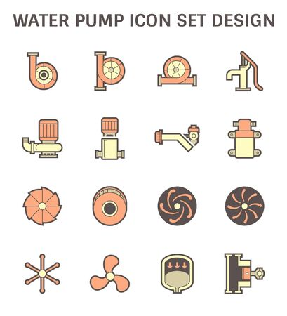 Water pump and steel blade vector icon for water distribution.