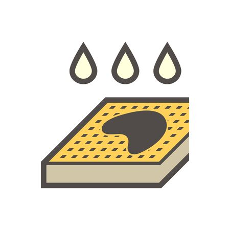 Rain drop and flooded on the ground show the meaning of bad drainage system, vector illustration icon design.