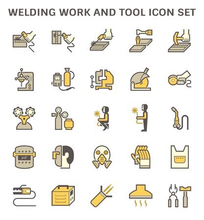 Welding work and tool such as welding torch, gas cutting tool and other vector icon set design.