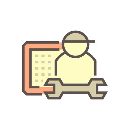 Air conditioner service and technician vector icon design, editable stroke.