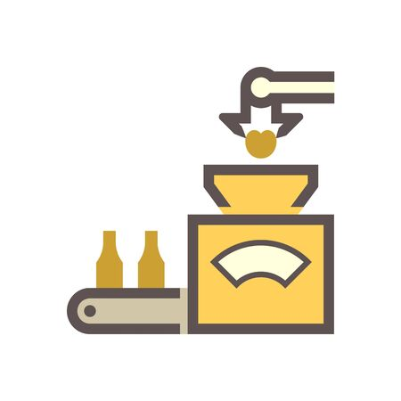 Robot put fruit into machine in fruit processing industry vector icon design on white background.
