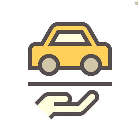 Used car in hand to show used car and dealership vector icon design, 48X48 pixel perfect and editable stroke.