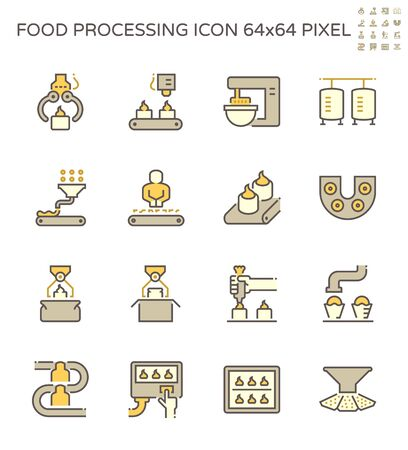 Food processing industry bakery on production line vector icon set design, 64x64 pixel perfect and editable stroke.