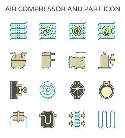 Air compressor and part vector icon set design, editable stroke. Illustration