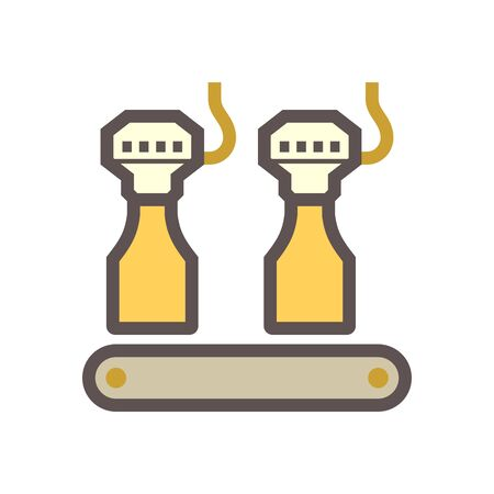 Machine fill water into glass bottle in beverage production process vector icon design on white background.