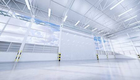 3d rendering of empty hangar and concrete floor and shutter door, clean and new condition. Banque d'images